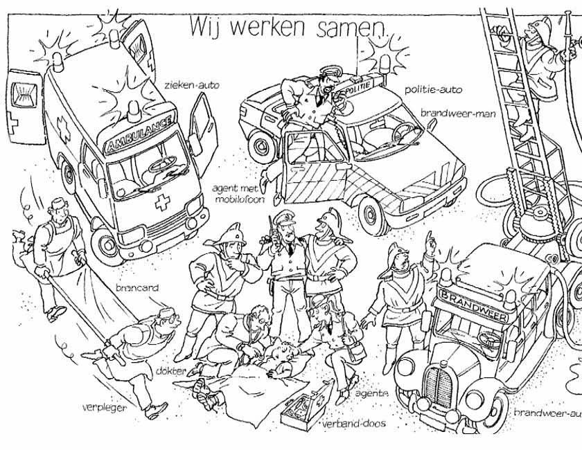 Gratis kleurplaat Mooi overzichtsplaatje van hulpdiensten