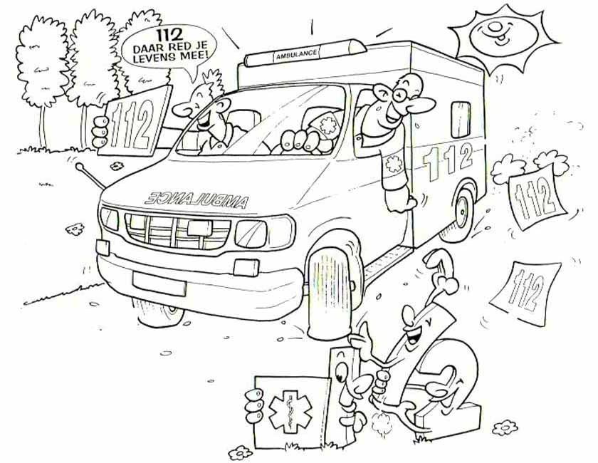 Kleurplaten Ambulance Idee 235 N Over Kleurpagina S Voor