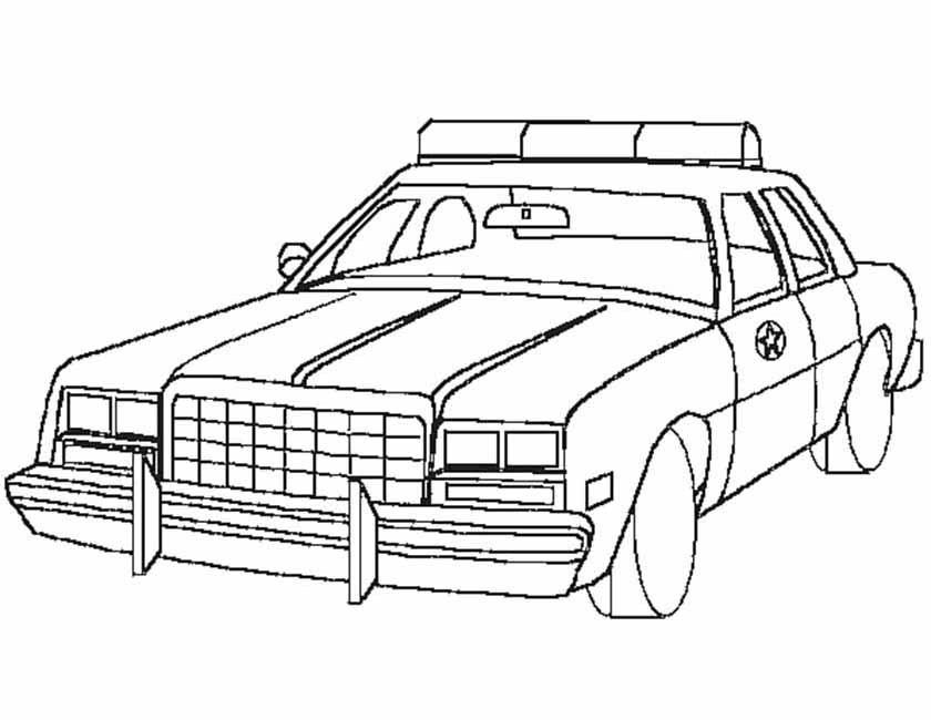 Gratis kleurplaat Amerikaanse politiewagen