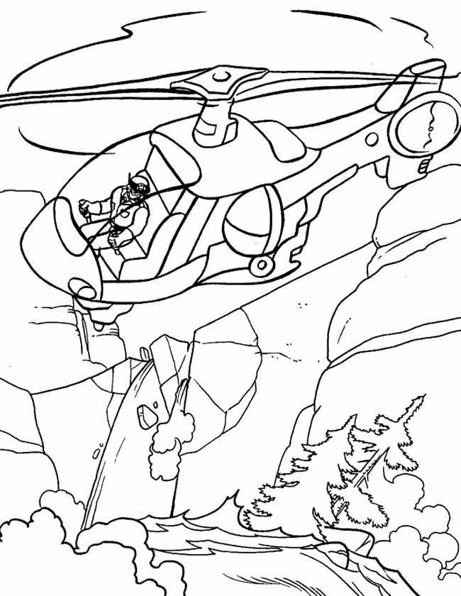Gratis kleurplaat Blushelicopter boven het bos