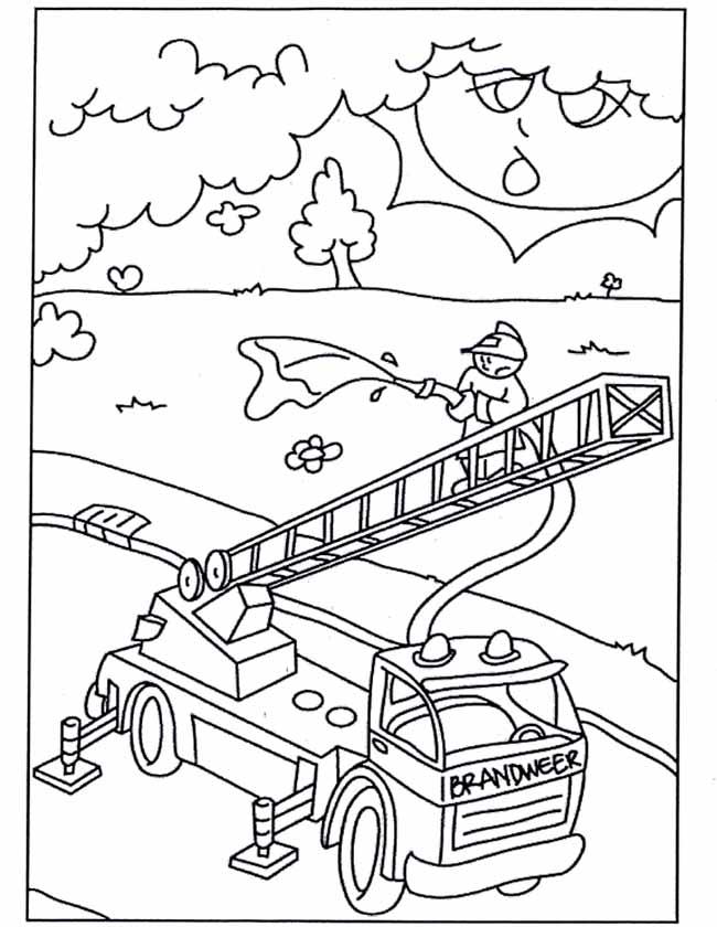 Gratis kleurplaat Brandweerauto met ladder