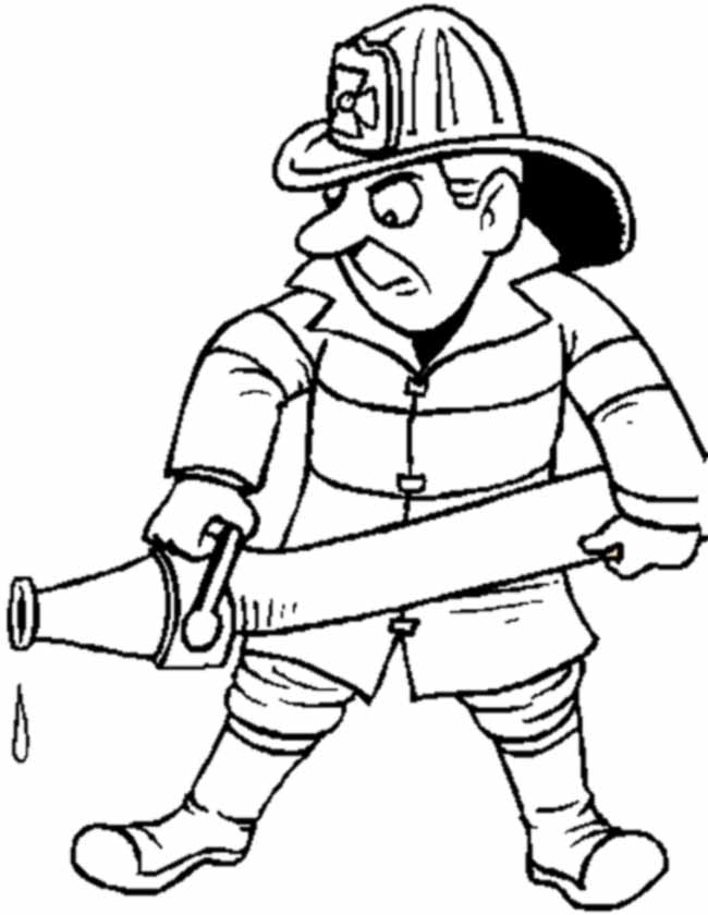 Gratis kleurplaat Brandweerman met slang