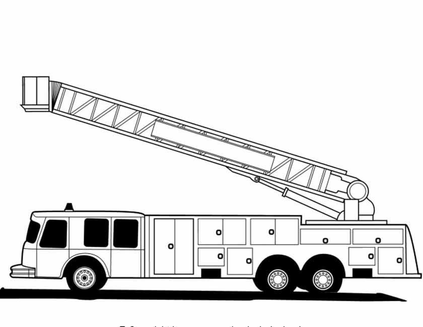 Gratis kleurplaat Amerikaanse brandweerauto zijkant