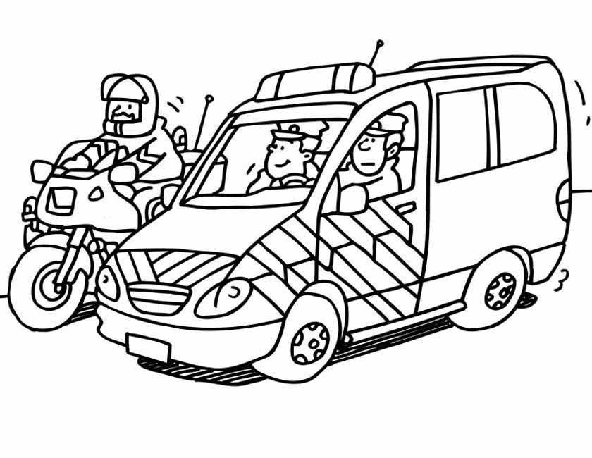 Gratis kleurplaat Politiemotor escorte