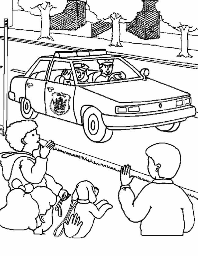 Gratis kleurplaat Kinderen zwaaien naar politie