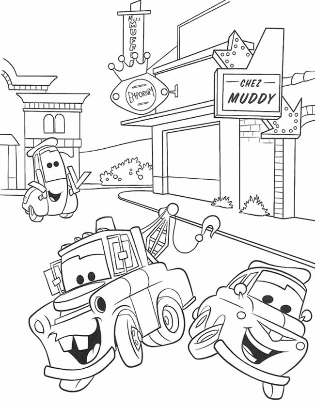 Gratis kleurplaat Luigi Guido en Takel bij Chez Mudd