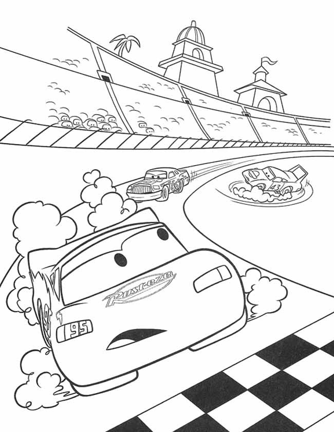Gratis kleurplaat Piston cup racer in actie