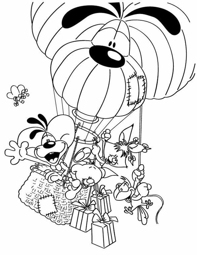 Gratis kleurplaat Diddl in de luchtballon