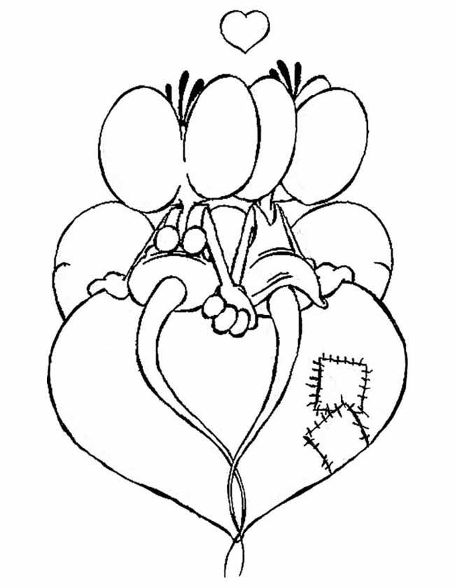 Gratis kleurplaat Diddl en Didlina op een hart