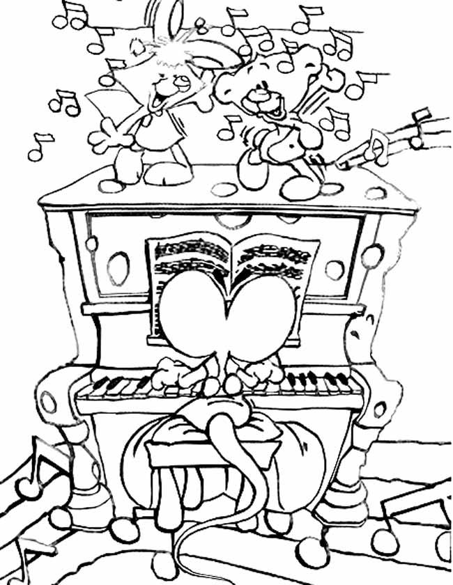 Gratis kleurplaat diddl speelt piano