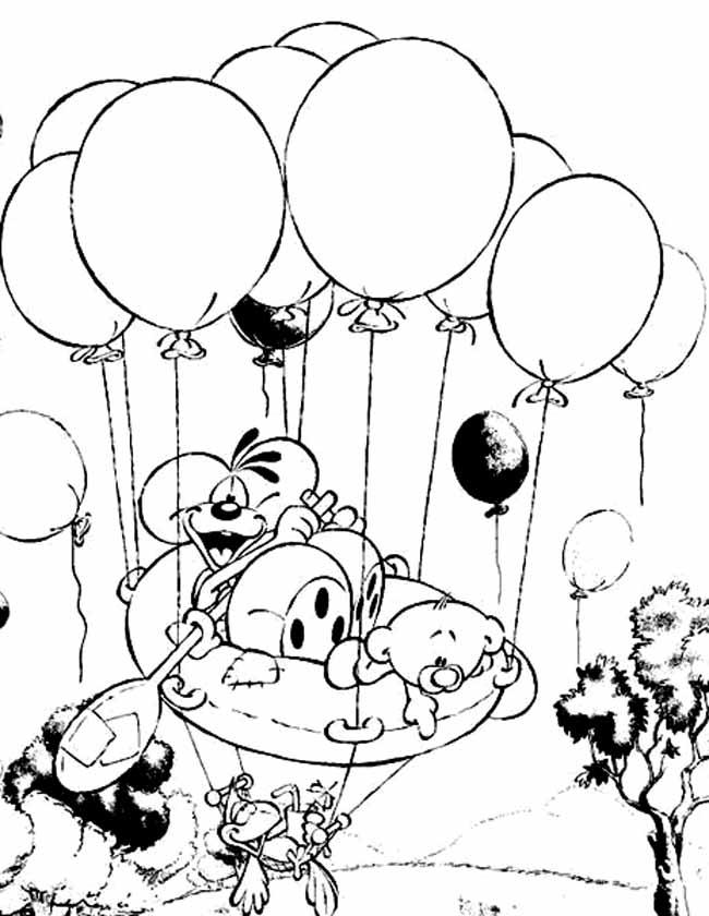 Gratis kleurplaat diddl stijgt op met ballonnen