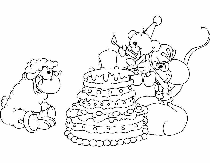 Gratis kleurplaat diddl taart