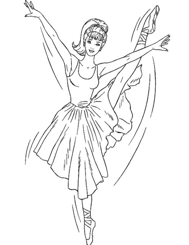 Gratis kleurplaat Barbie ballet sierlijk