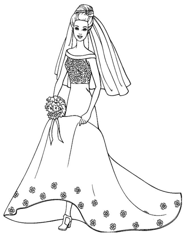 Gratis kleurplaat Barbie gaat trouwen