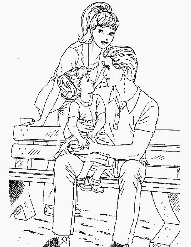 Gratis kleurplaat Barbie op een bankje met gezin