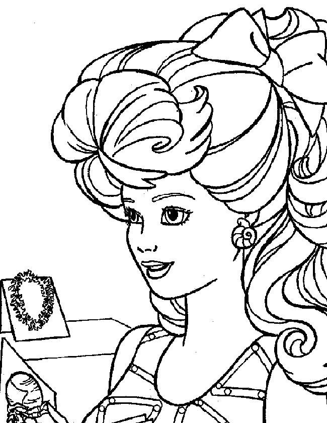 Gratis kleurplaat Barbie met mooie ketting