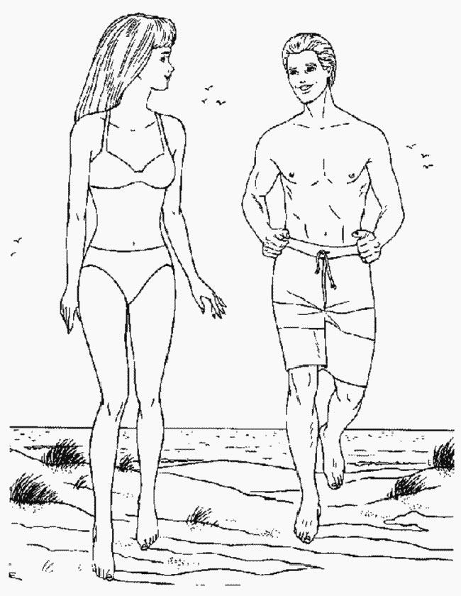 Gratis kleurplaat Barbie en Ken op het strand