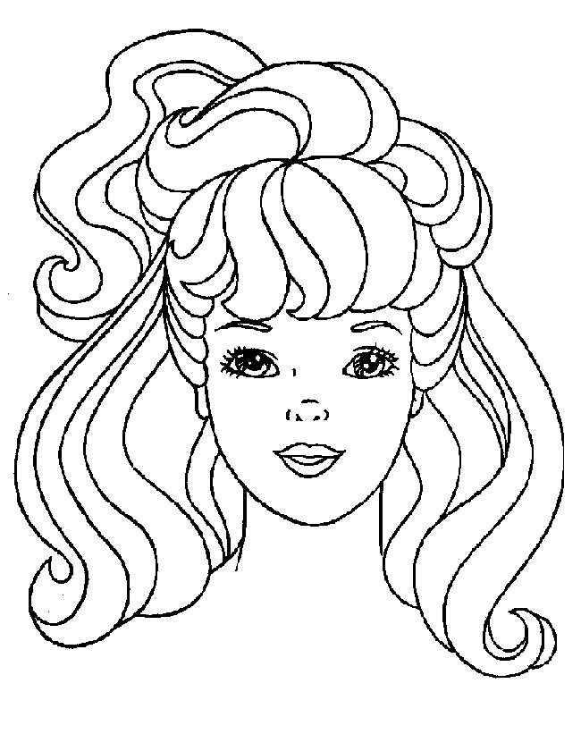 Gratis kleurplaat Barbies gezicht