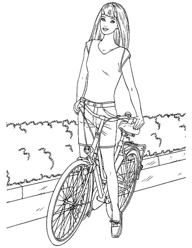 Gratis kleurplaat Barbie op de fiets