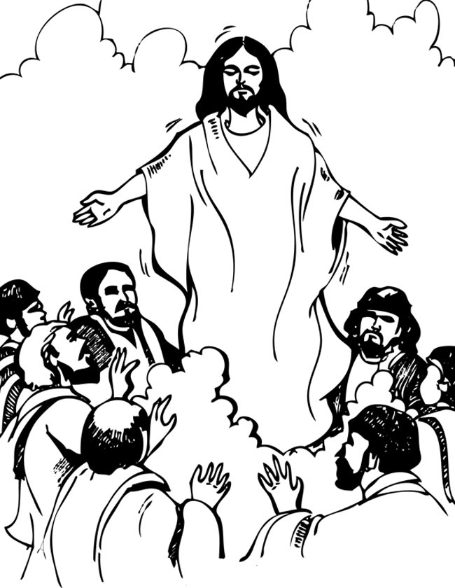 Gratis kleurplaat Jezus Hemelvaart