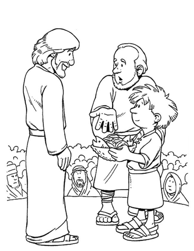 Gratis kleurplaat Jezus geeft de mensen te eten