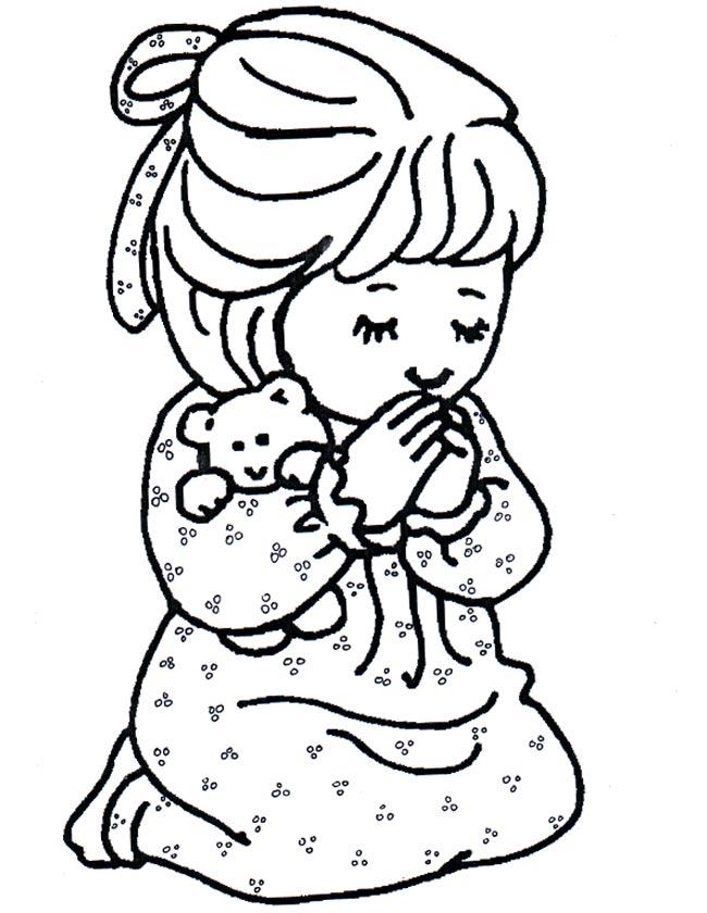 Gratis kleurplaat Een biddend meisje