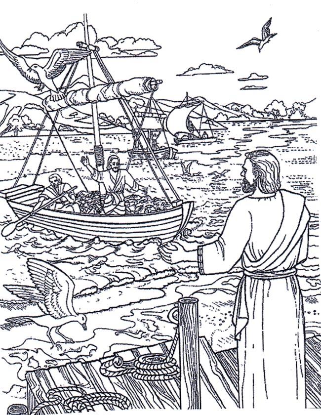 Gratis kleurplaat Jezus wacht op Petrus en Andreas
