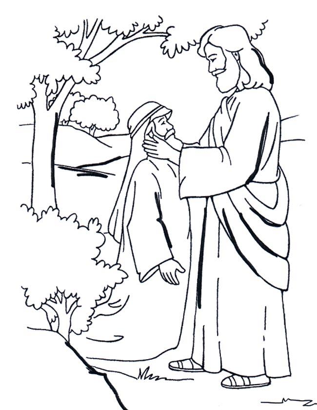 Gratis kleurplaat Jezus geneest een dove man