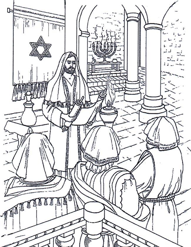 Gratis kleurplaat Jezus in een synagoge