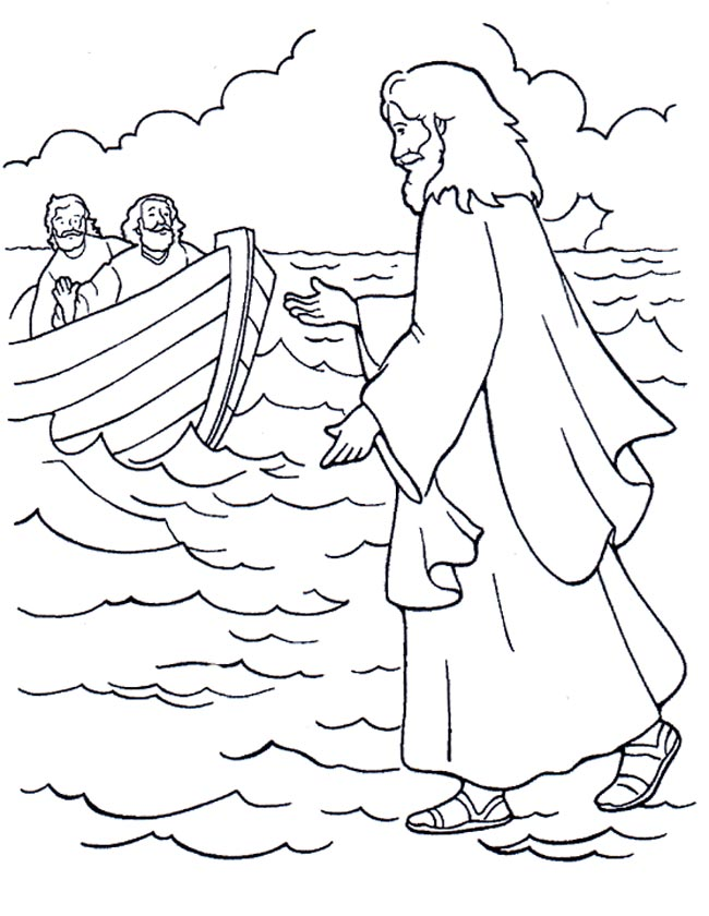 Gratis kleurplaat Jezus loopt over het water