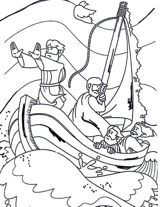 Gratis kleurplaat Jezus in een storm op het meer van Galilea