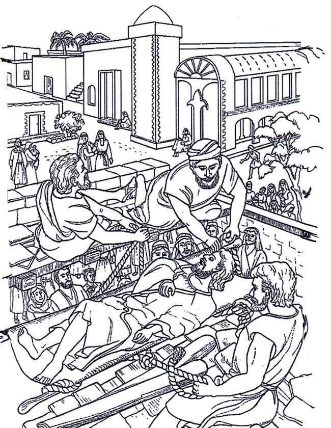 Gratis kleurplaat Een verlamde man wordt bij Jezus gebracht