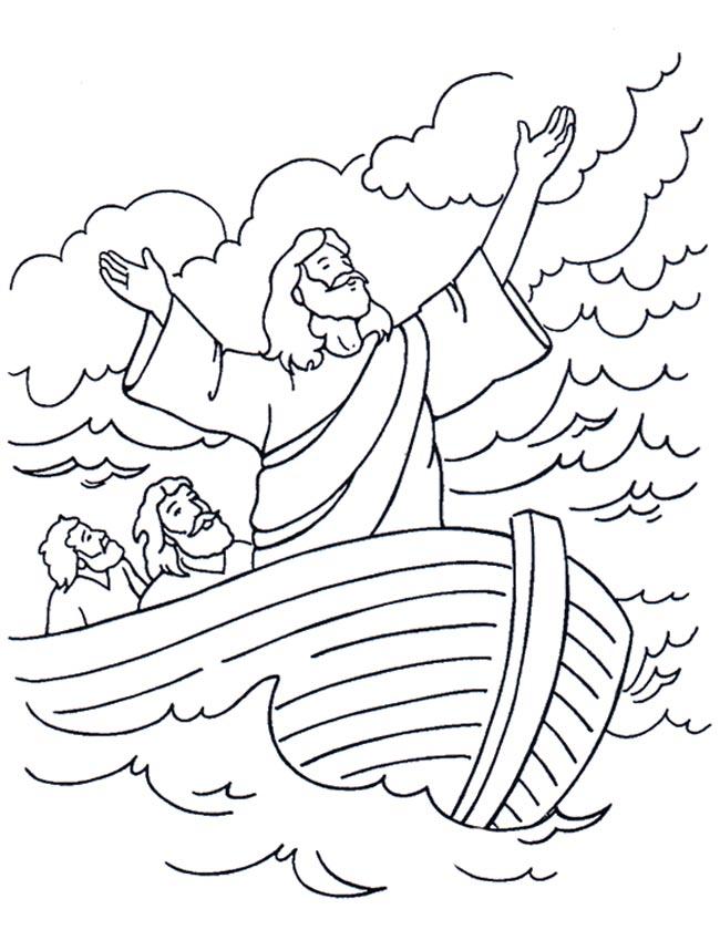 Gratis kleurplaat Jezus op het meer van Galilea