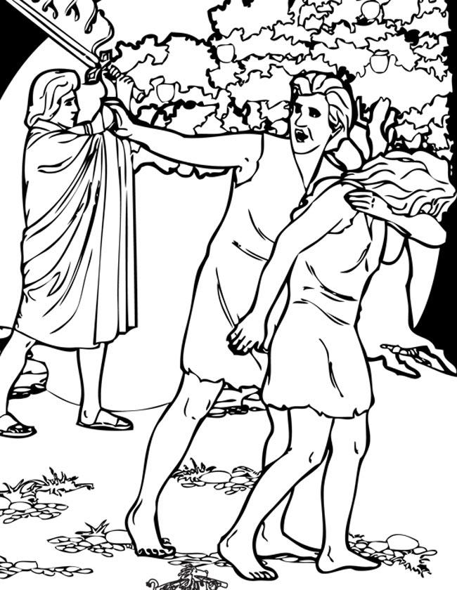 Gratis kleurplaat Adam en Eva worden verstoten uit het paradijs