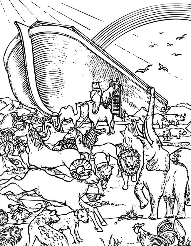 Gratis kleurplaat De ark van Noach