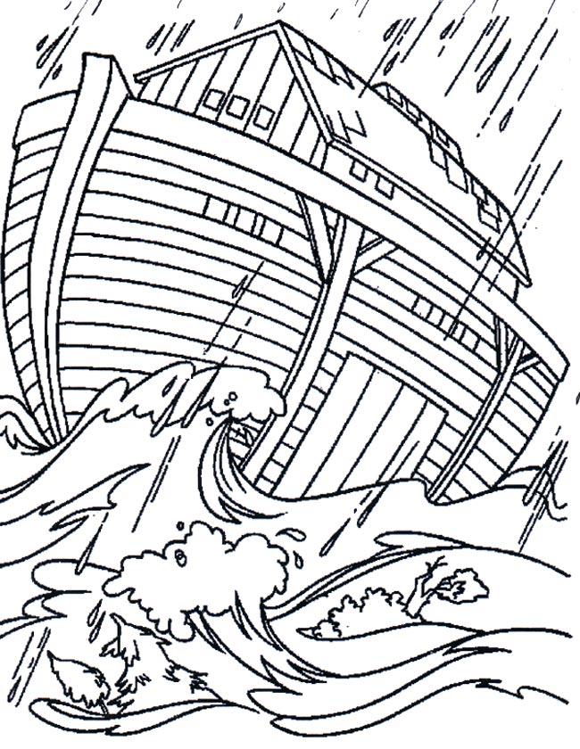 Gratis kleurplaat Ark van Noach in een storm