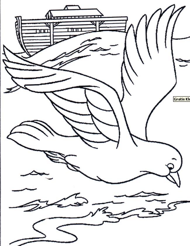 Gratis kleurplaat Duif bij de ark van Noach