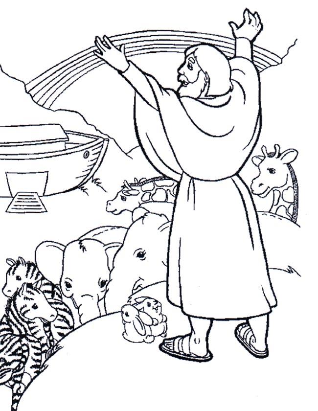 Gratis kleurplaat Noach met dieren