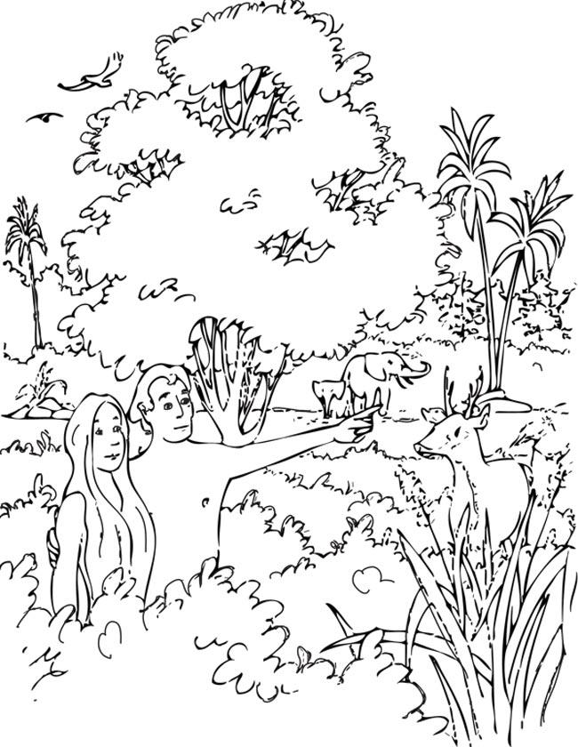 Gratis kleurplaat Adam en eva in het paradijs