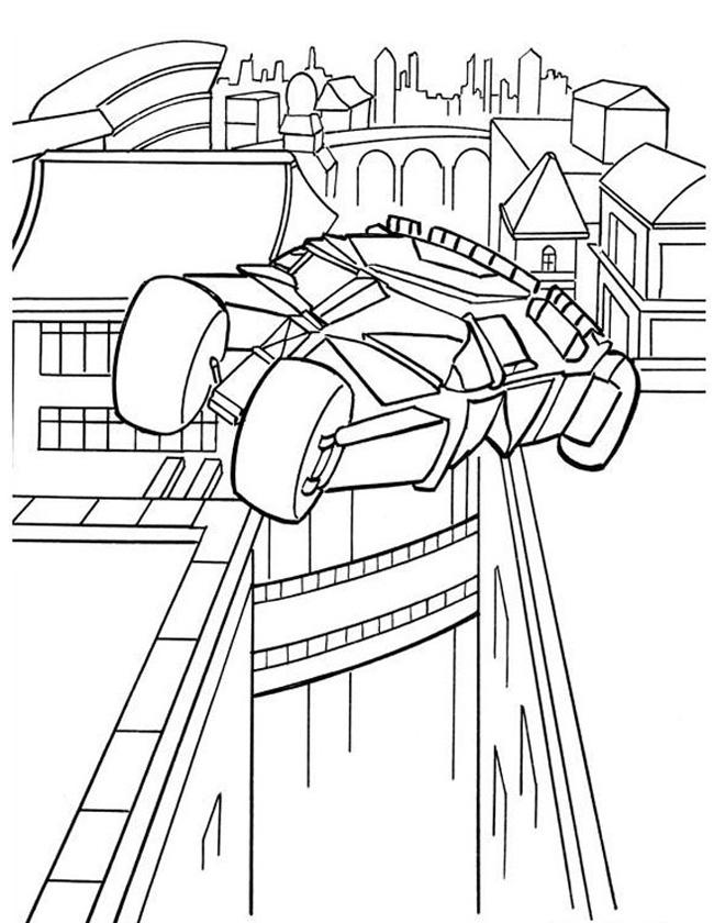 Gratis kleurplaat Batmobile vliegt boven Gotham City