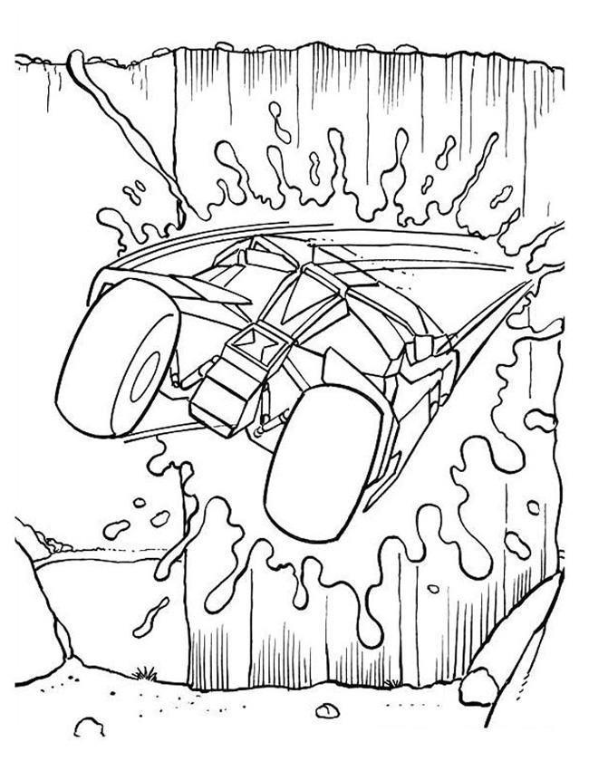 Gratis kleurplaat Batman in de batmobiel, splash!