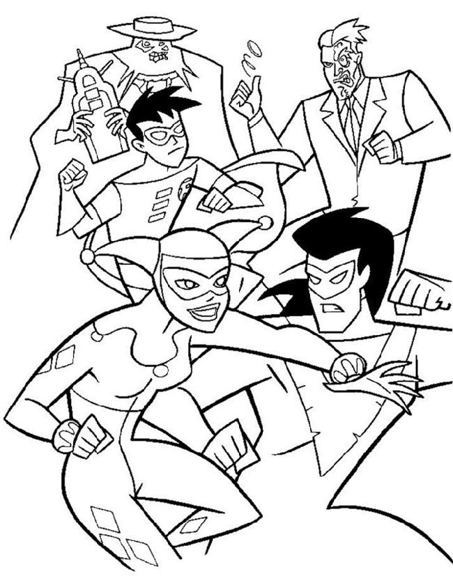 Gratis kleurplaat Batman en batgirl tegen de joker