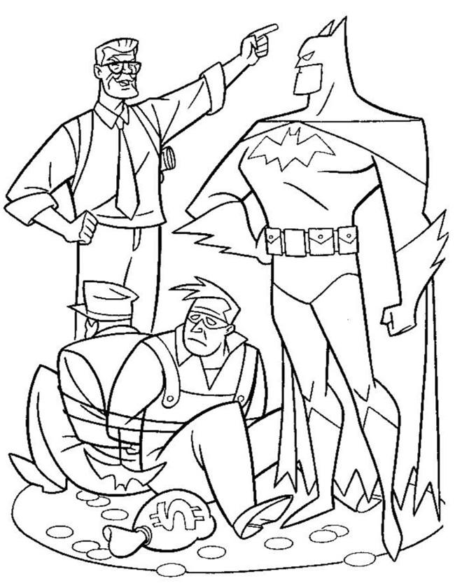 Gratis kleurplaat Batman heeft de boeven gevangen