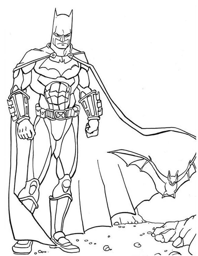 Gratis kleurplaat Batman met vleermuis