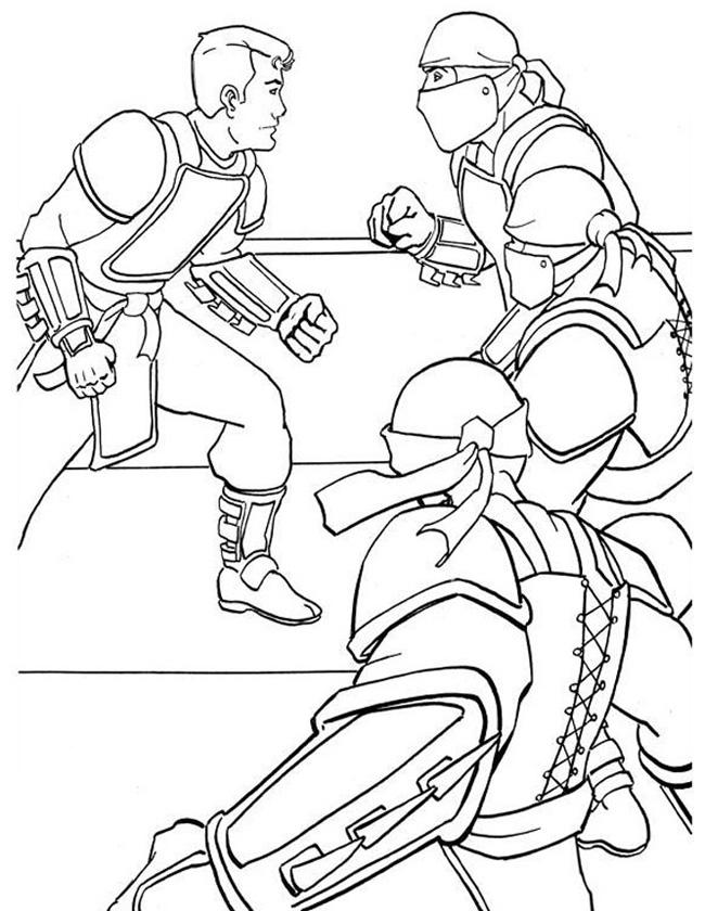 Gratis kleurplaat Batman in gevecht met ninjas