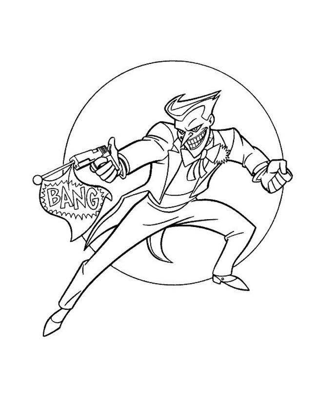 Gratis kleurplaat De joker schiet op batman