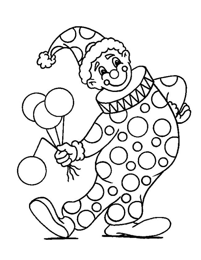 Kleuren.nu - clown met ballonnen kleurplaten