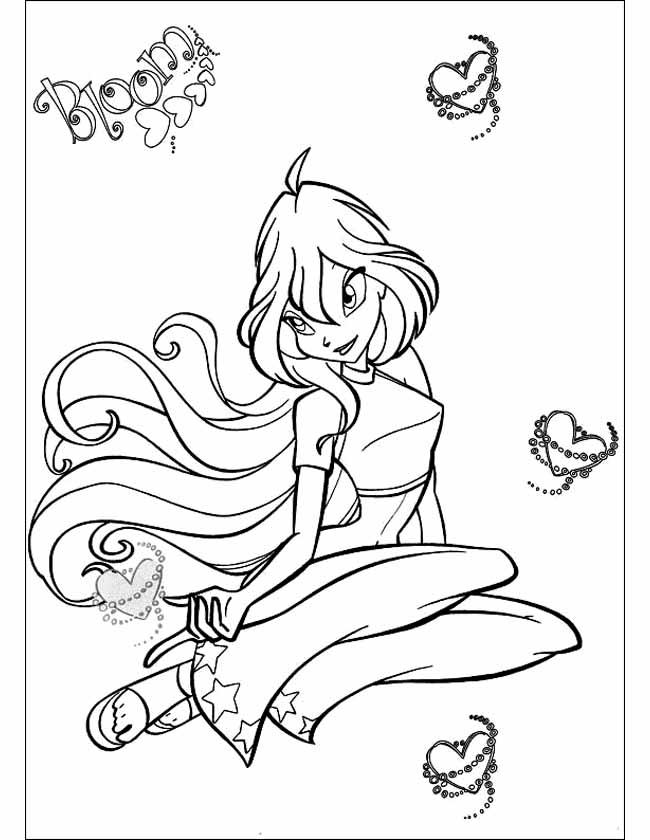 Gratis kleurplaat Winx bloom hartjes