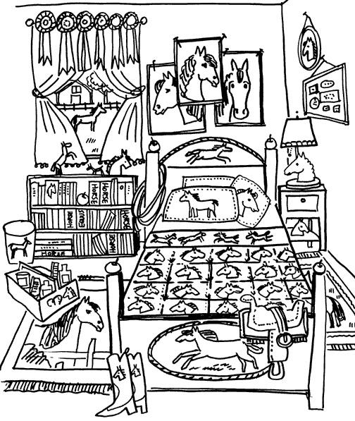Kleuren Nu Slaapkamer Vol Met Paardenspullen Kleurplaten