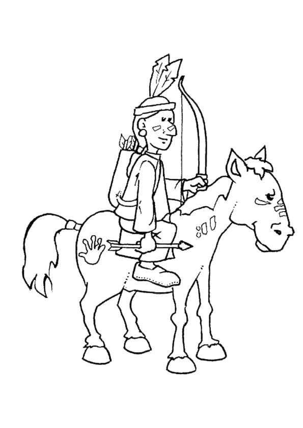 Gratis kleurplaat indiaan op paard